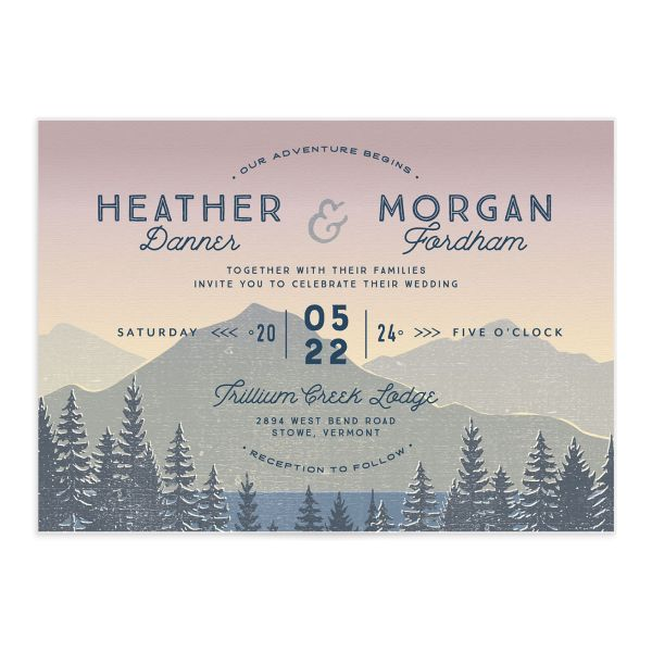 Vintage Mountain wedding invitation front in pink