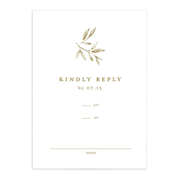 Minimal Leaves Response Card front in gold