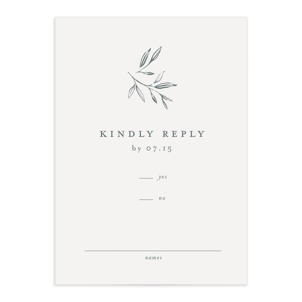 Minimal Leaves Response Card front in green