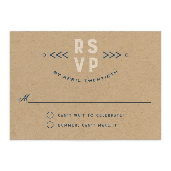Vintage Mountain wedding response card front in blue