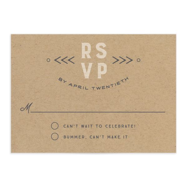 Vintage Mountain wedding response card front in grey
