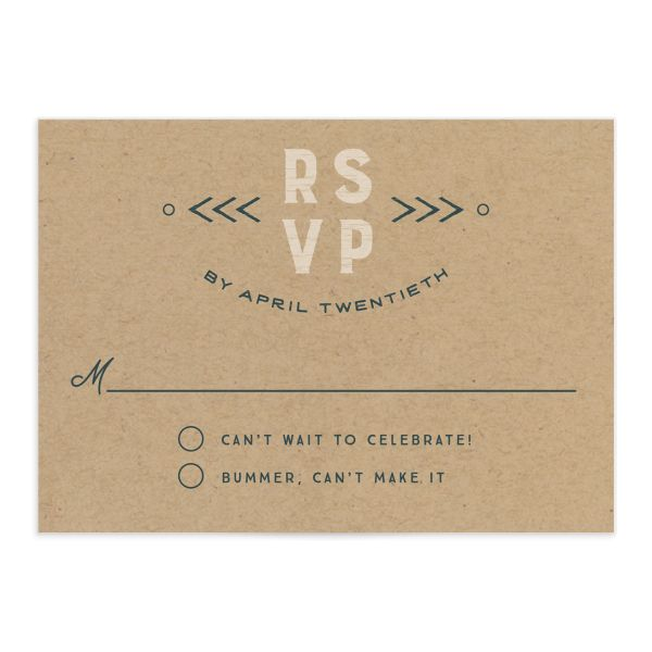 Vintage Mountain wedding response card front in teal
