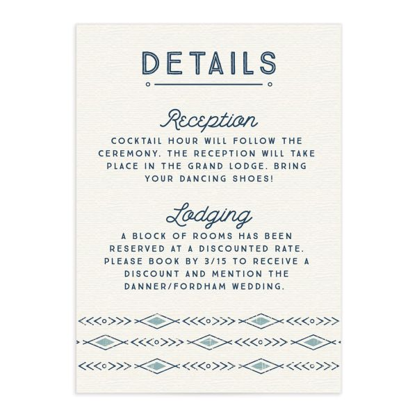 Vintage Mountain wedding enclosure card front in blue