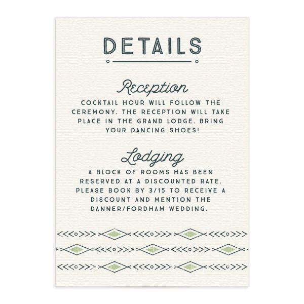Vintage Mountain wedding enclosure card front in green