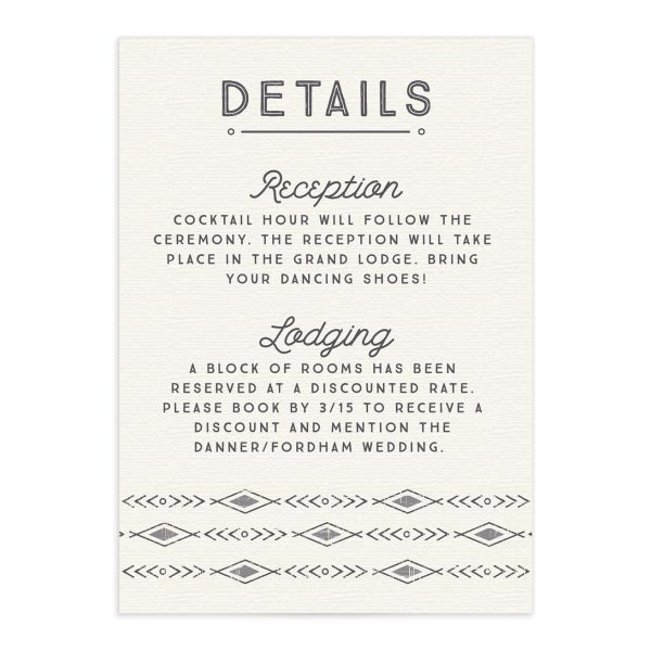 Vintage Mountain wedding enclosure card front in grey