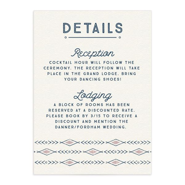 Vintage Mountain wedding enclosure card front in pink