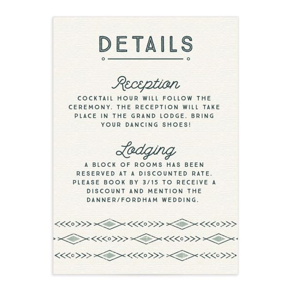 Vintage Mountain wedding enclosure card front in teal