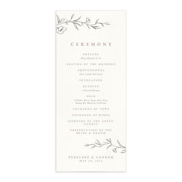 Graceful Botanical Wedding Programs