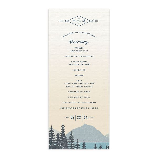 Vintage Mountain wedding program card front in blue