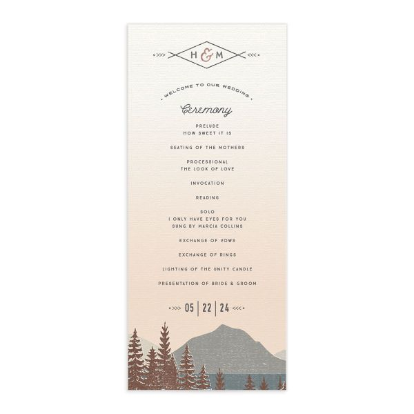Vintage Mountain wedding program card front in brown