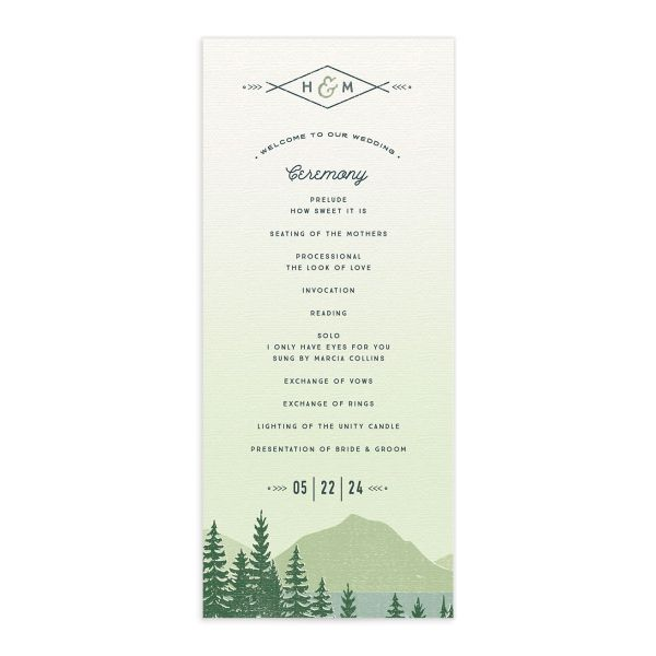Vintage Mountain wedding program card front in green