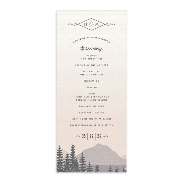 Vintage Mountain wedding program card front in grey