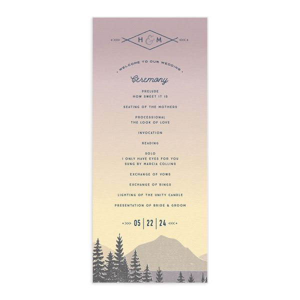 Vintage Mountain wedding program card front in pink