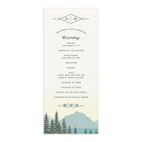 Vintage Mountain wedding program card front in teal