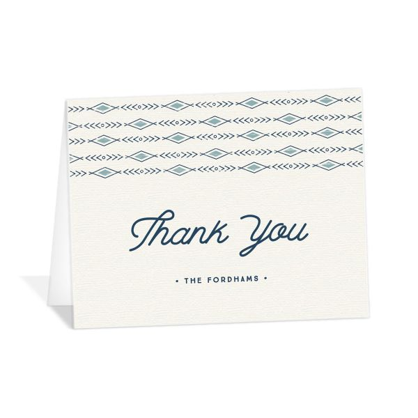 Vintage Mountain wedding thank you card front in blue
