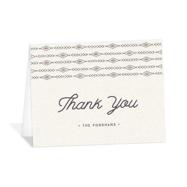 Vintage Mountain wedding thank you card front in brown
