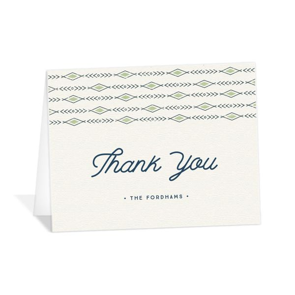 Vintage Mountain wedding thank you card front in green