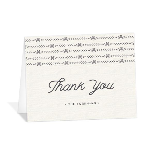 Vintage Mountain wedding thank you card front in grey
