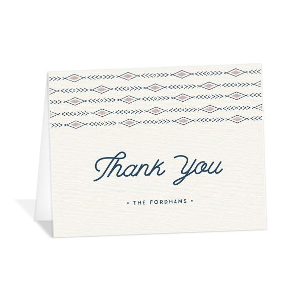 Vintage Mountain wedding thank you card front in pink