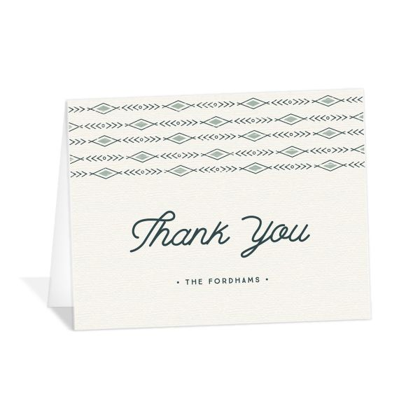 Vintage Mountain wedding thank you card front in teal