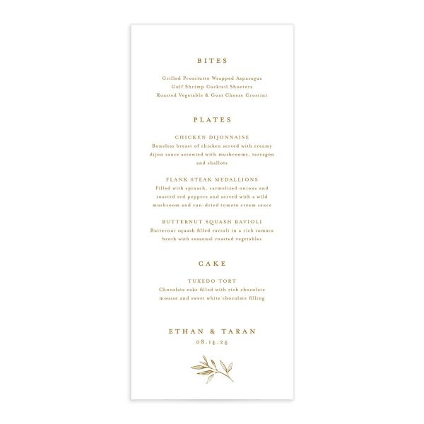 Minimal Leaves Menu front in gold