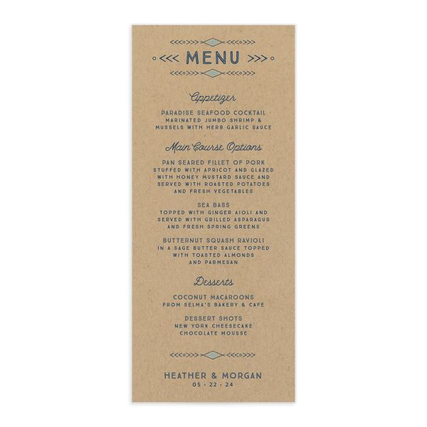 Vintage Mountain wedding menu card front in blue