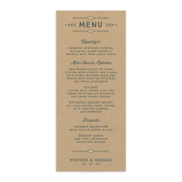 Vintage Mountain wedding menu card front in green