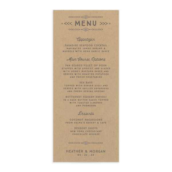 Vintage Mountain wedding menu card front in grey