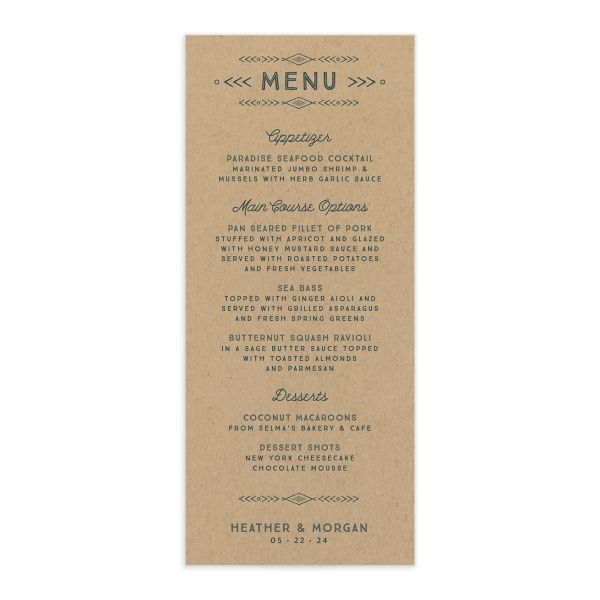 Vintage Mountain wedding menu card front in teal