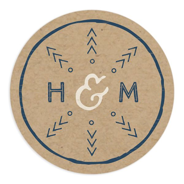 Vintage Mountain wedding sticker in blue