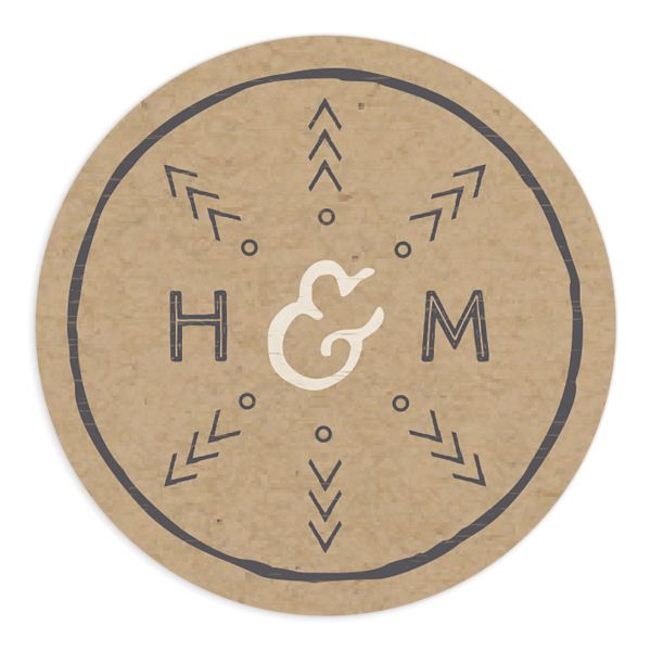 Vintage Mountain wedding sticker in brown