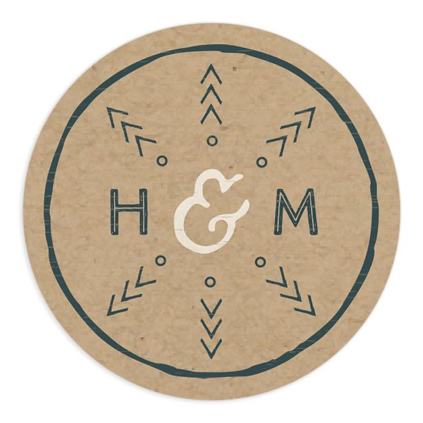 Vintage Mountain wedding sticker in teal