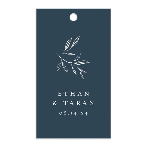 Minimal Leaves Gift Tag front in blue