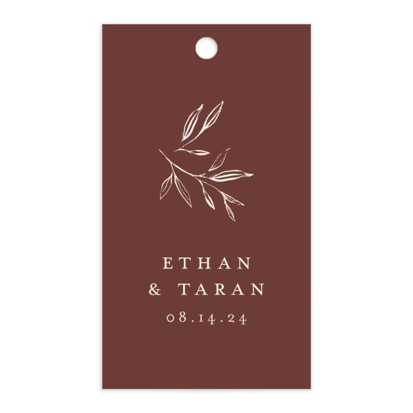 Minimal Leaves Gift Tag front in burgundy