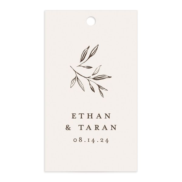 Minimal Leaves Gift Tag front in cream
