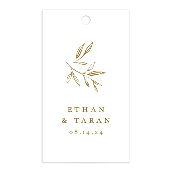 Minimal Leaves Gift Tag front in gold