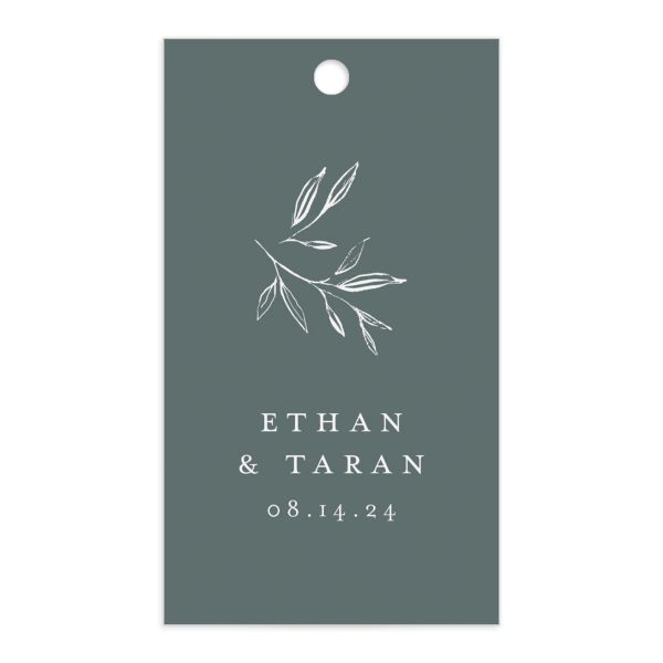 Minimal Leaves Gift Tag front in green
