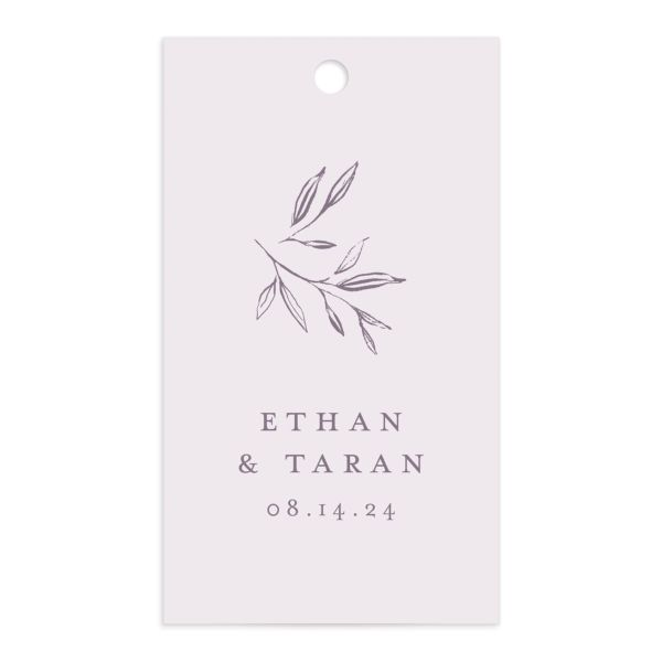 Minimal Leaves Gift Tag front in lavender