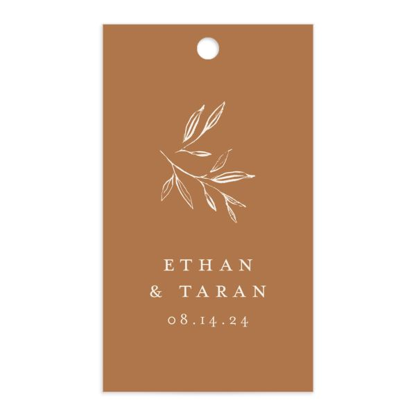 Minimal Leaves Gift Tag front in orange