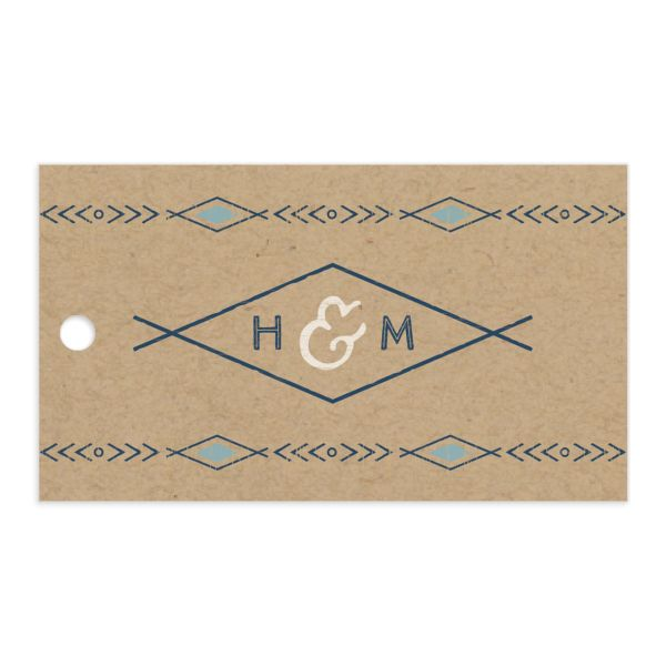 Vintage Mountain favor gift tag front in blue