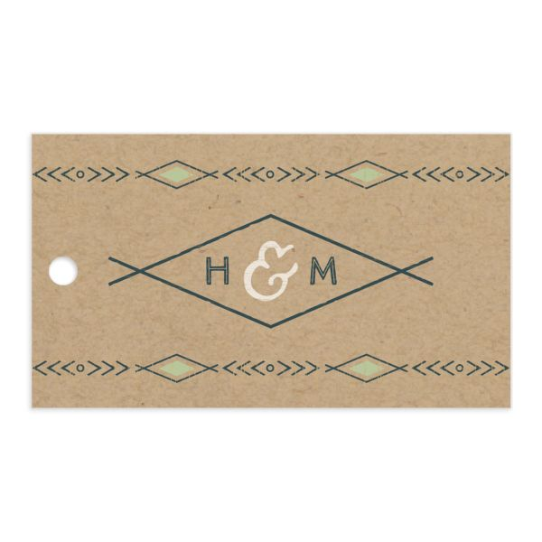 Vintage Mountain favor gift tag front in green