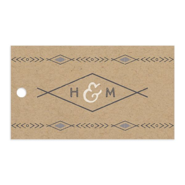 Vintage Mountain favor gift tag front in grey