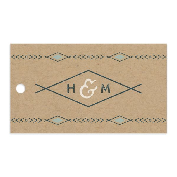 Vintage Mountain favor gift tag front in teal