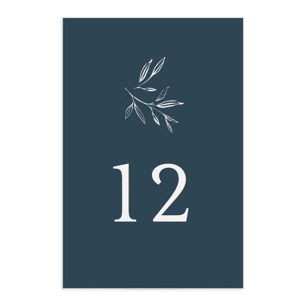 Minimal Leaves Table Number front in blue
