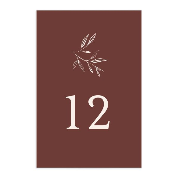 Minimal Leaves Table Number front in burgundy