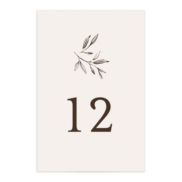 Minimal Leaves Table Number front in cream