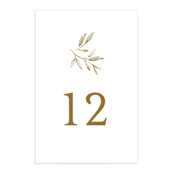 Minimal Leaves Table Number front in gold