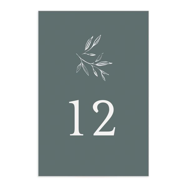 Minimal Leaves Table Number front in green