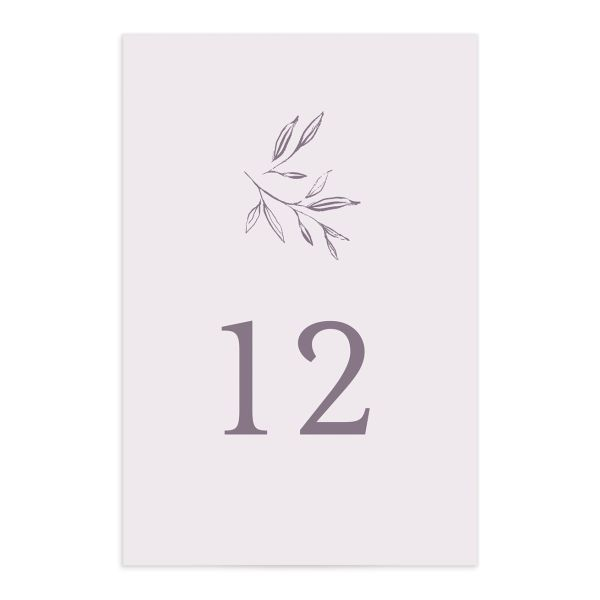 Minimal Leaves Table Number front in lavender