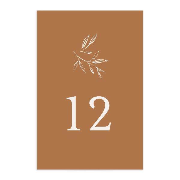 Minimal Leaves Table Number front in orange